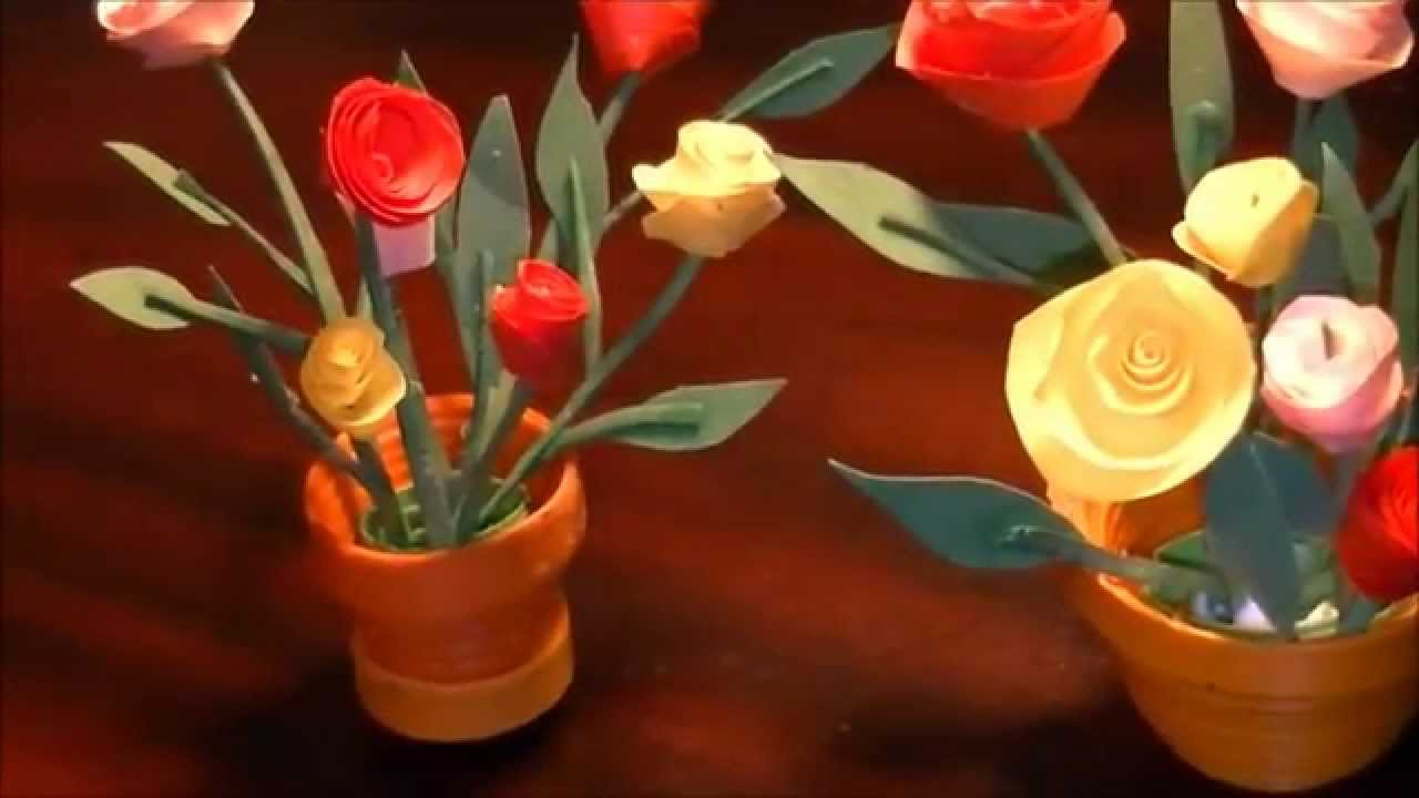 Miniature quilling rose pot in 3d with no tools youtube ccuart Image collections