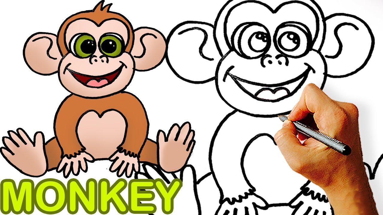 Uncategorized How To Draw A Cute Monkey very easy how to draw cute cartoon monkey art for kids youtube kids