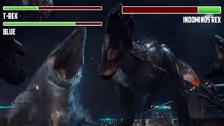 T-rex Vs. Indominus Rex WITH HEALTHBARS | Final Battle | HD | Jurassic World