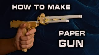 How to make a Paper Gun that shoots with trigger Rubber bands GUN