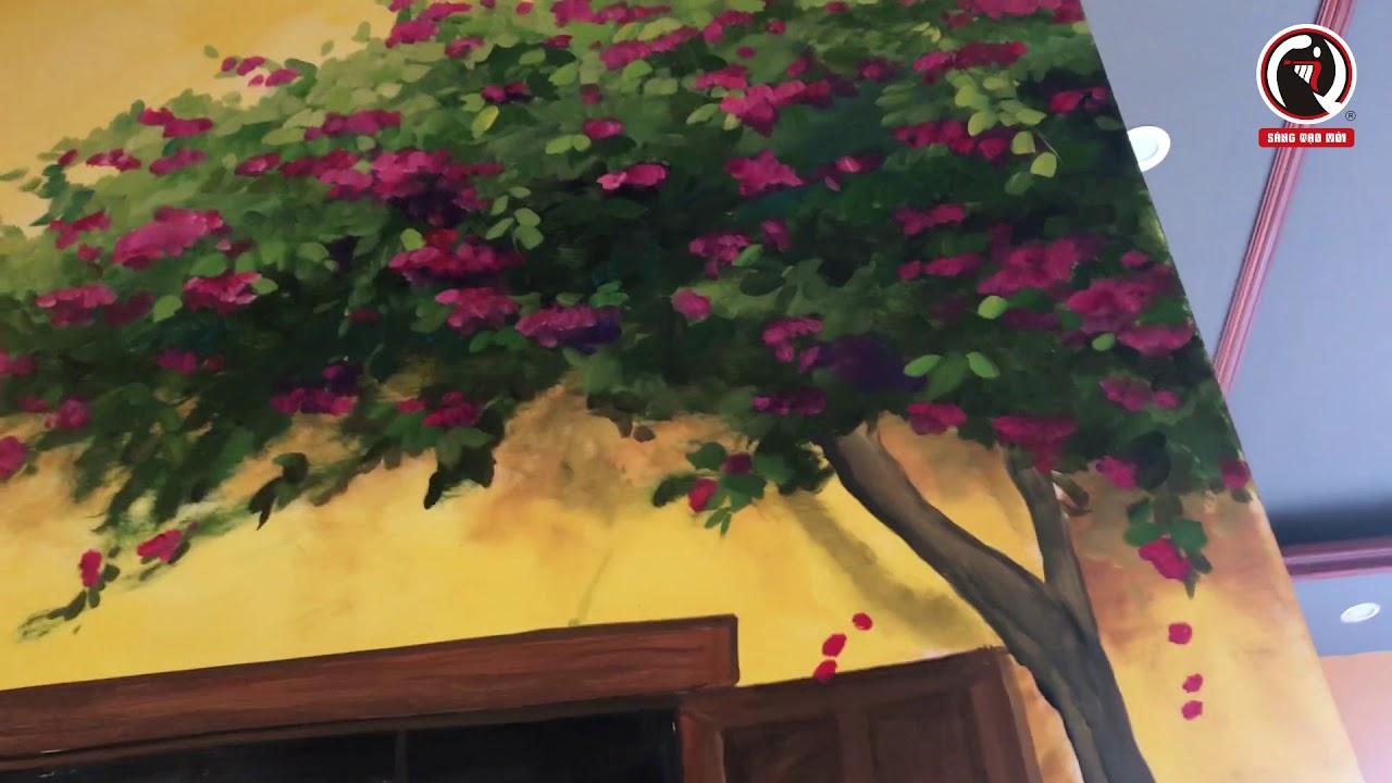 Vẽ tranh tường quán trà tranh cùng trải nghiệm nỗi vất vả nhưng vui cùng đam mê với người họa sĩ