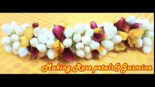 Jasmine&rose Petals Making garlands|How to Make rose petals Garlands