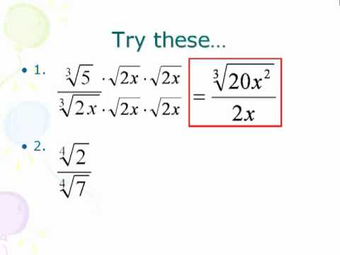 Algebra 2 Simplifying Radical Expressions Fractions Youtube