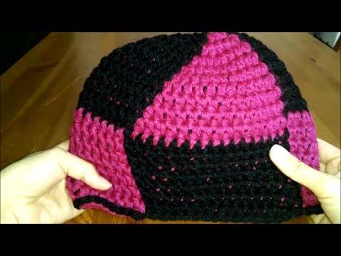 Mütze häkeln mit Muster, Dreieck, Raute - YouTube