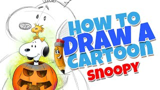 How to draw a cartoon Snoopy | step by step