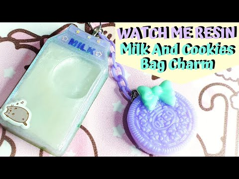 Watch Me Resin - Milk And Cookies Shaker Bag Charm - Trade with JBKonsCreations!