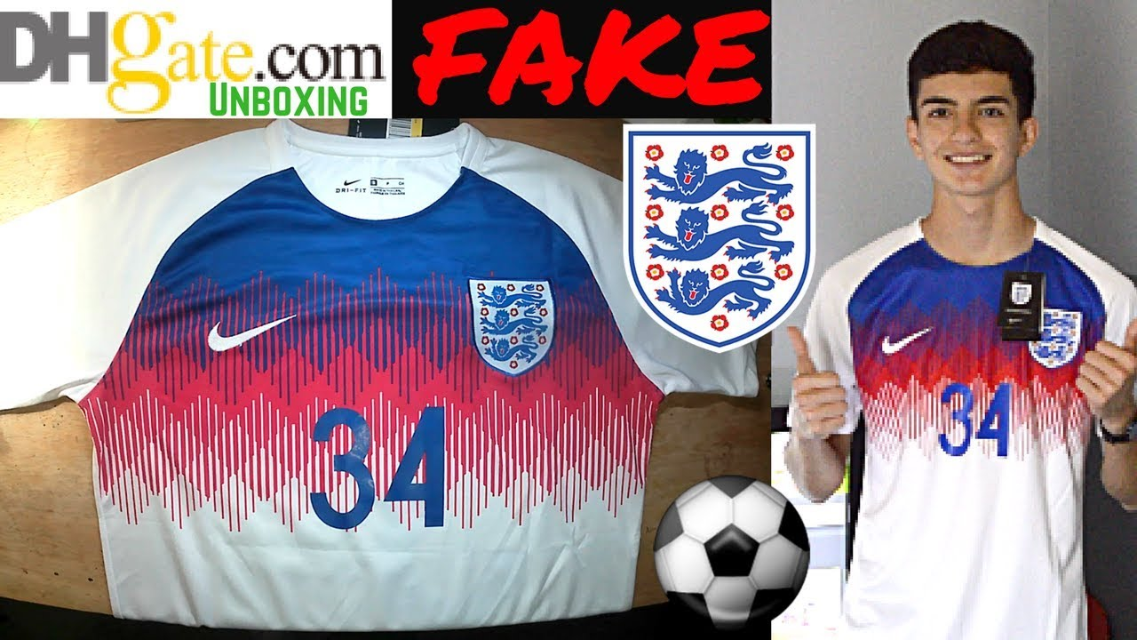 9ffaa5c35 Fake ENGLAND 2018 World Cup Jersey unboxing⚽🔥pre match kit DHGATE ...