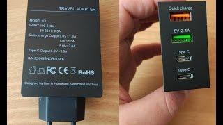 Зарядка Itian K3 EU Quick Charge - темная лошадка с 2 USB и 2 type C