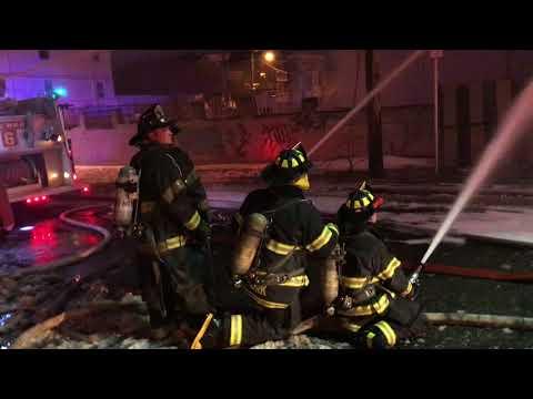 """FULLY INVOLVED 2 STORY WOOD FRAME VACANT DWELLING FIRE ON PARKHURST IN NEWARK, NEW JERSEY""""l"""