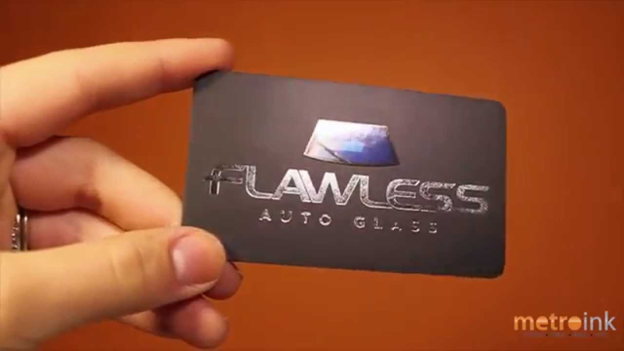 metroink foil stamp business card with spot uv flawless auto glass
