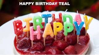 Teal  Cakes Pasteles - Happy Birthday