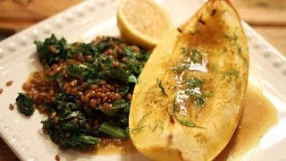 Roasted Spaghetti Squash With Mustard Greens And Wheat Berries