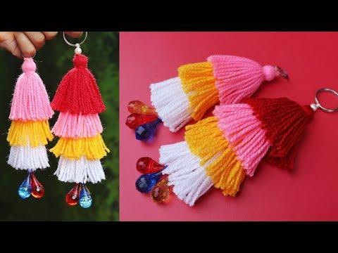 How to make woolen tassel bag charm very easily / Woolen key chain tutorial