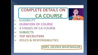 COMPLETE INFORMATION ON CA COURSE
