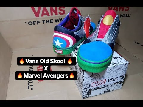 27a63b275a Unboxing Vans X Marvel  Old Skool Marvel Avengers  (Captain America ...