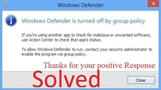 How to turn on Windows Defender via group policy [Solved]