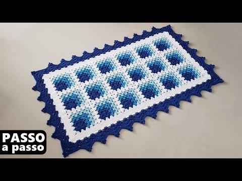 Tapete retangular em crochê com EFEITO 3D - Passo a passo