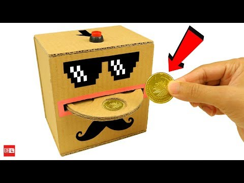 How to Make Automatic Coin Bank Box from Cardboard