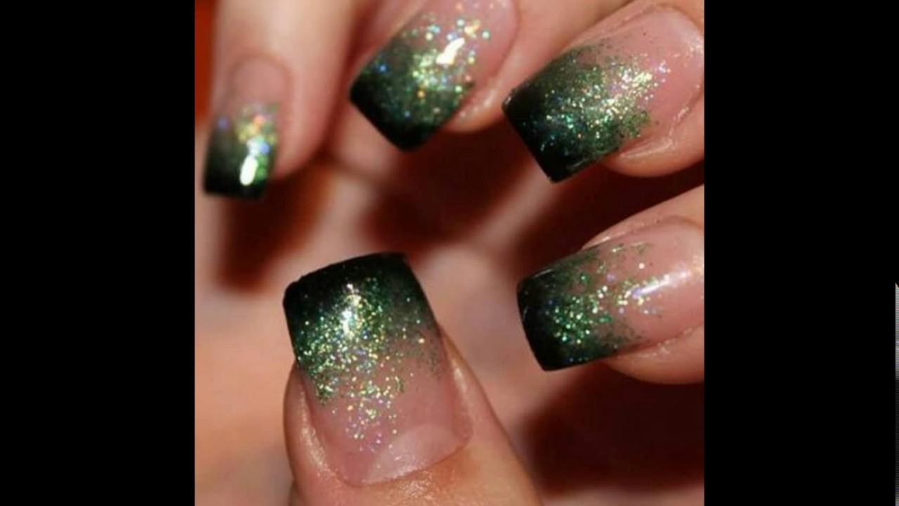 Uñas, decoración tonos verde esmeralda♥♥ - YouTube