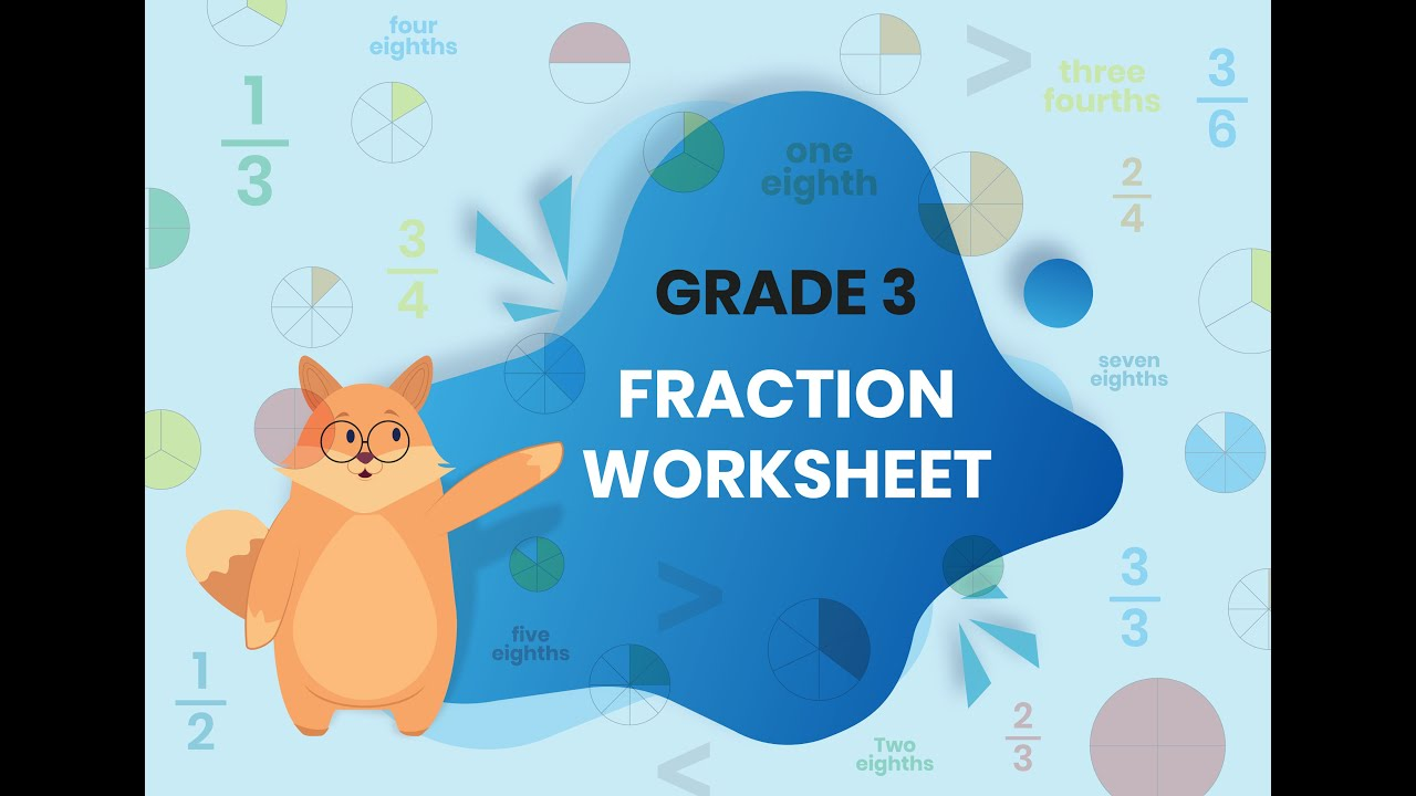 small resolution of Grade 3 Fractions - Worksheet solution - YouTube