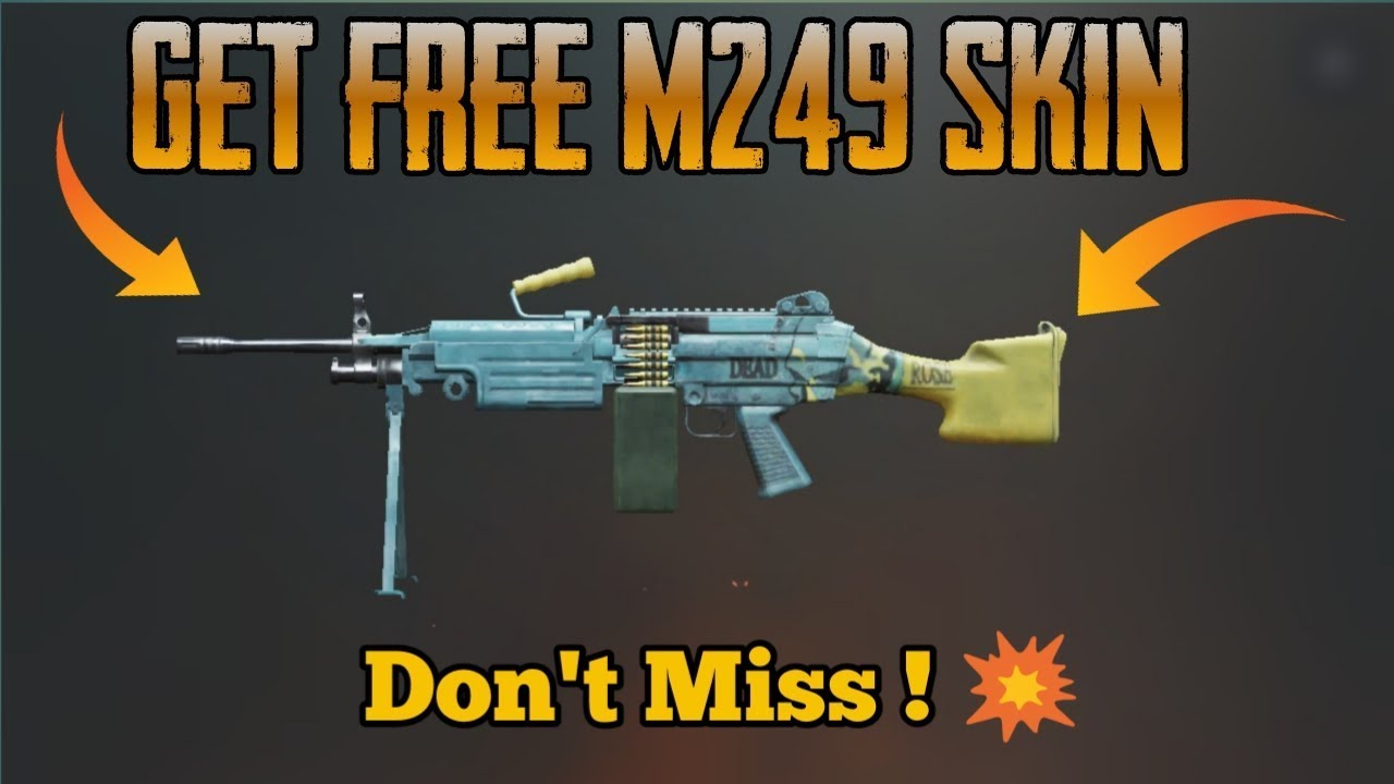 How to get Free M249 Rare skin in Pubg Mobile - YouTube