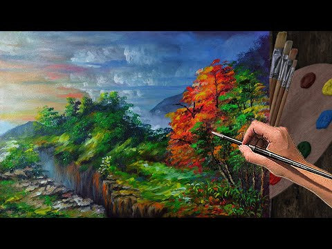 ACRYLIC PAINTING BASIC Mountains with Canyon and Colorful Autumn trees | Art Lesson for Beginners