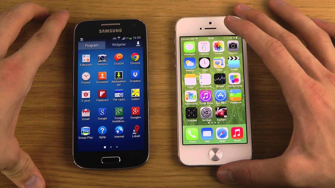 Samsung Galaxy S4 Mini vs. iPhone 5 iOS 7 Beta 5 - Opening ...