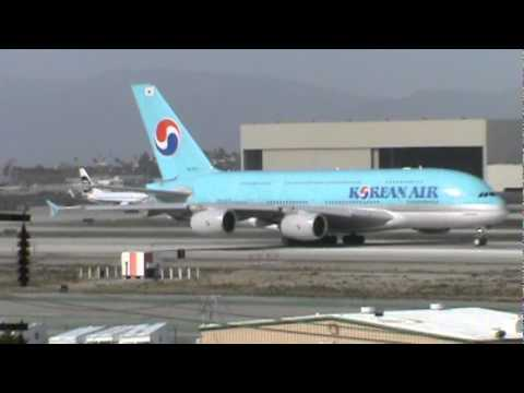 Korean Airlines Airbus A388 takeoff - YouTube