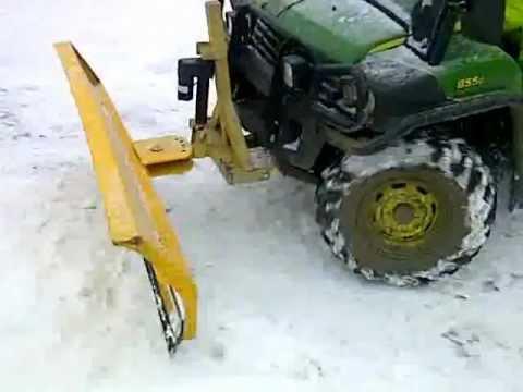 John Deere Gator Plow >> john deere gator snow ploughing - YouTube