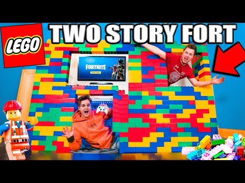 WORLDS BIGGEST 2 Story LEGO FORT! (24 Hour Challenge)
