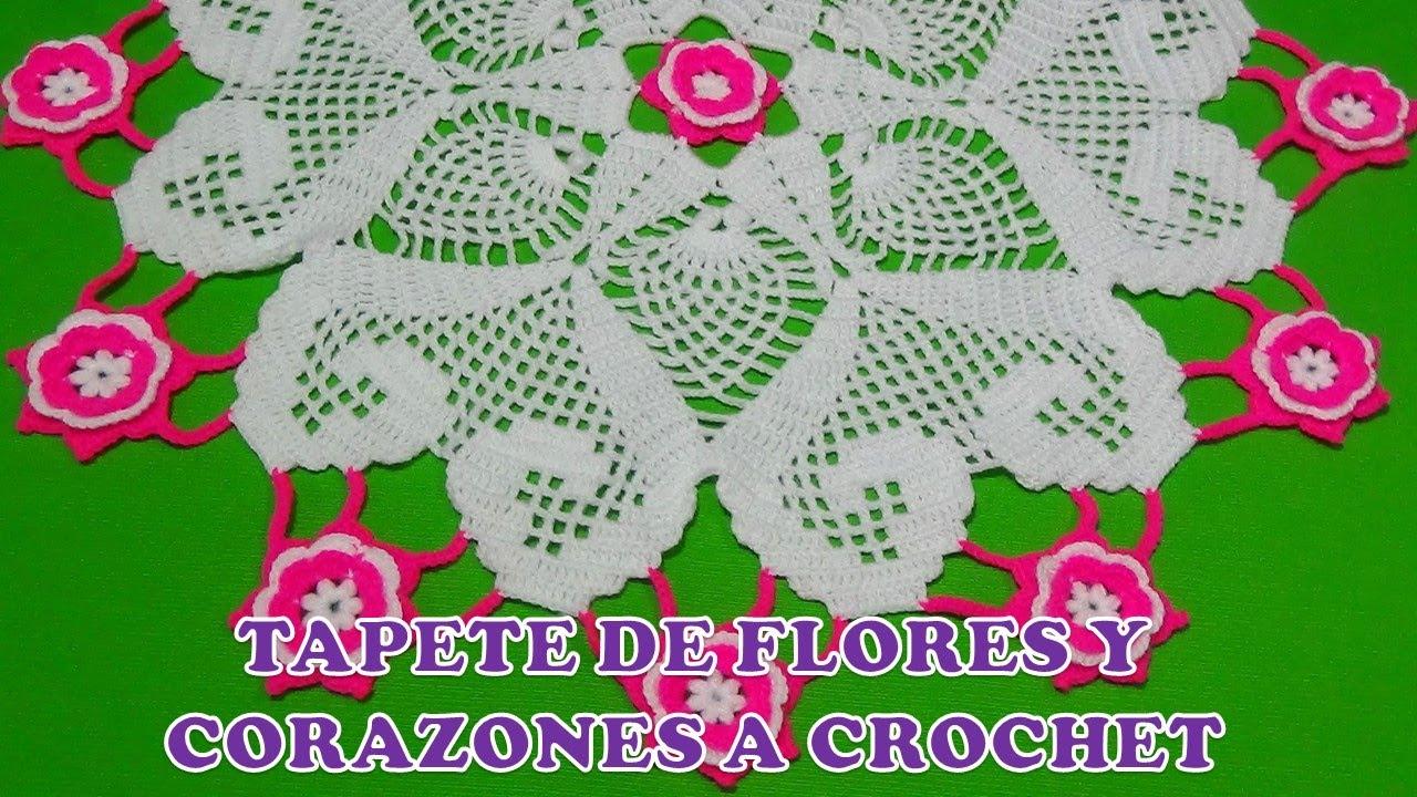 TAPETE O CARPETA A CROCHET DE FLORES Y CORAZONES PARTE 2 paso a paso ...