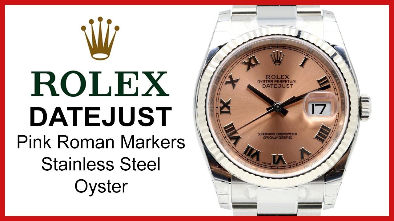 0ce3c9affbe Rolex Datejust 36 REVIEW: Pink Roman Dial, Fluted White Gold Bezel, Steel  Bracelet, 116234-PNKRFO