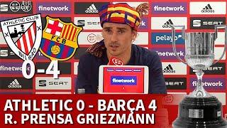 ATHLETIC 0 BARCELONA 4 FINAL COPA REY | GRIEZMANN, rueda prensa: primer título de culé | Diario AS