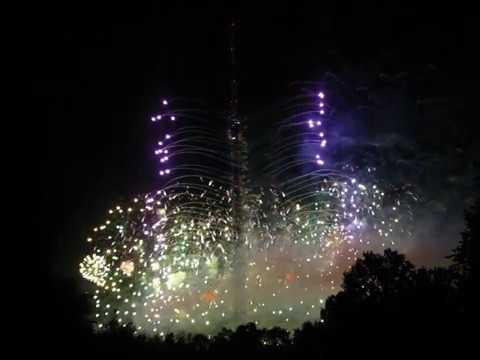 Ostankino TV tower celebrates fifty old jubilee with fireworks, festive lighting and show on a pond.