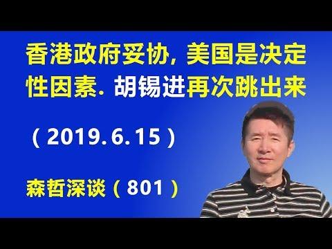 香港政府妥协,美国的介入是决定性因素。胡锡进再次跳出来:北京究竟发生了什么事?(2019.6.15)