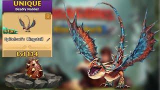 Spitelout's Kingstail Max Level 134 Titan Mode - Unique Deadly Nadder - Dragons:Rise of Berk