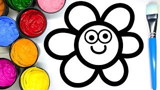 Painting Cute Flower and Heart Painting Pages, Learn Painting and to Color for Baby
