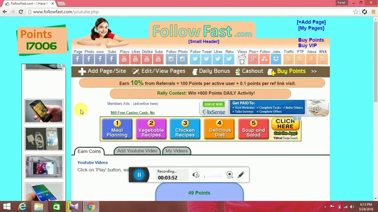 How To Earn Point From Followfast By Use Facebook,youtube,twitter