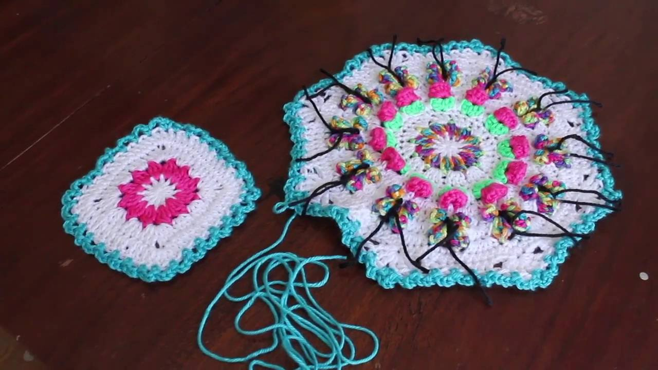 Butterfly Garden Octagon Afghan Join - YouTube
