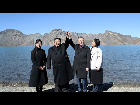 Leaders Kim and Moon visiting sacred volcano Mount Paektu