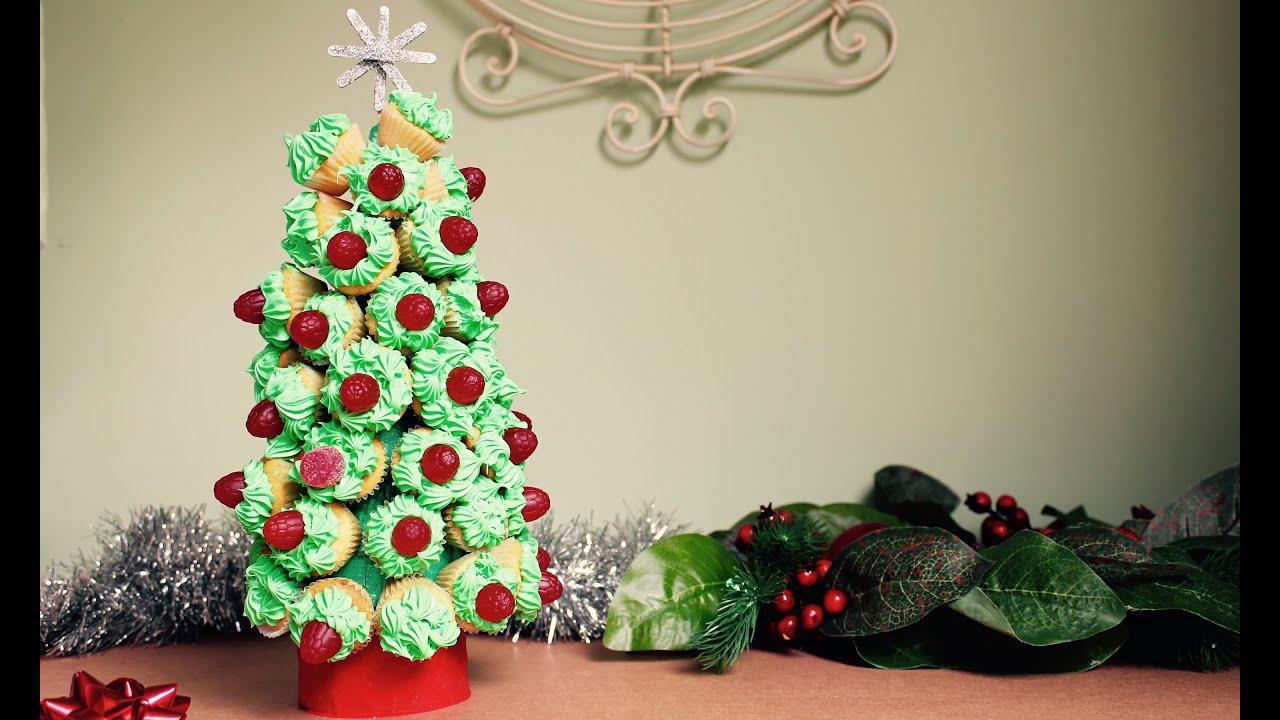 Easy recipe: How to make a cupcake Christmas tree - YouTube