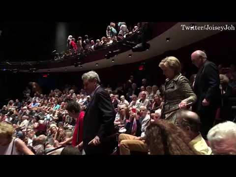 Hillary and Bill Clinton received a standing ovation from the crowd of a Broadway show Oslo