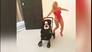 Scantily clad Coco twerks with baby in tow during photo shoot