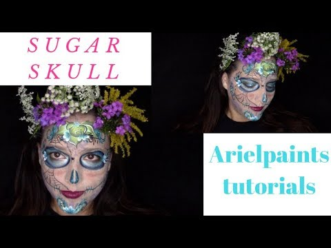 Halloween Sugar Skull Makeup/Face Painting Tutorial ~ Arielpaints thumbnail