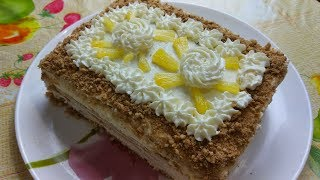 Торт без выпечки  с творожным  кремом и ананасами. Легкий и  Вкусный рецепт.