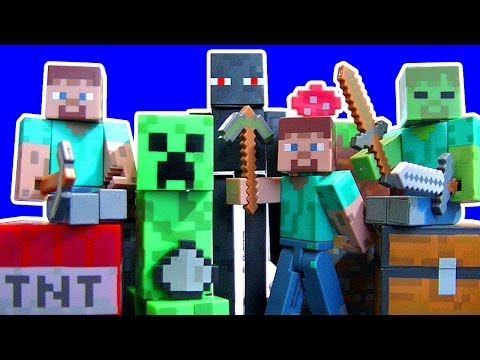 Minecraft Steve Creeper Enderman Zombie Jazwares Toys Series 1 Dear Santa Toy Review