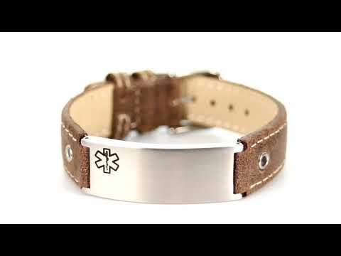Casual Cocoa Leather Medical ID bracelet