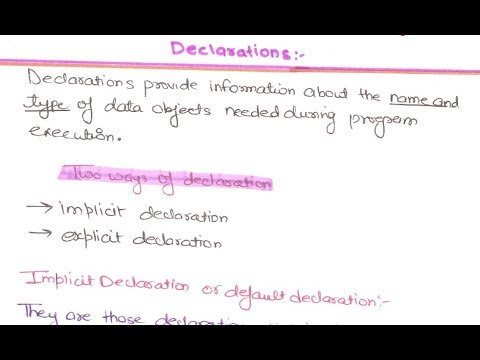13- How Declaration of data types in Programming Languages is done | Declaration of data Types