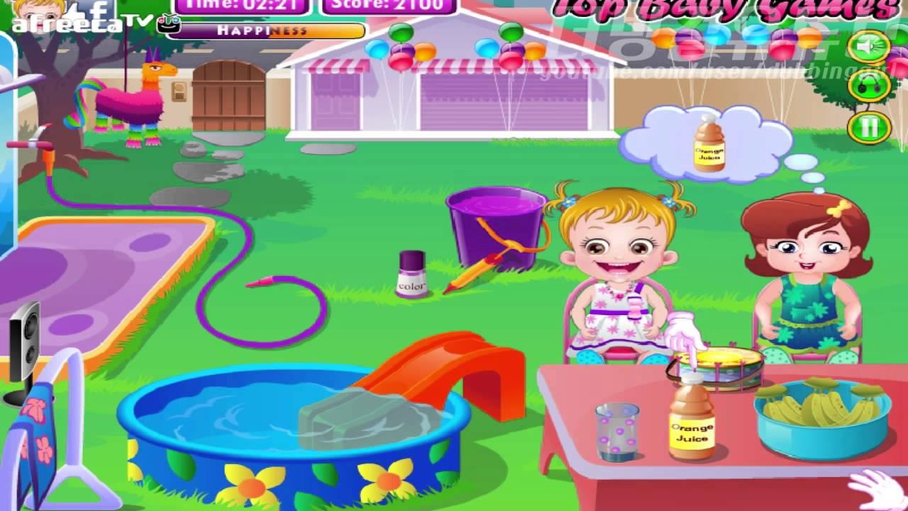 더빙걸 플래시게임 헤이즐의 뒤뜰 파티 (baby hazel Backyard party) - YouTube