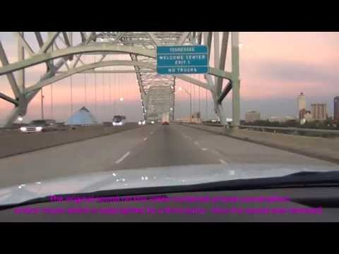 Driving Across the Mississippi River - Entering Tennessee through Memphis